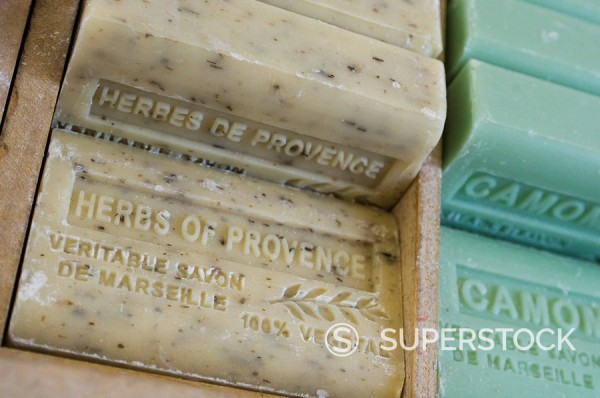 Marseille soap, Marche aux Fleurs, Cours Saleya, Nice, Alpes Maritimes, Provence, Cote d´Azur, French Riviera, France, Europe : Stock Photo