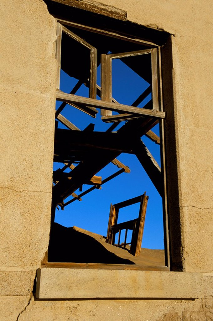 Stock Photo: 1890-50541 Detail of a ruined building in diamond mining ghost town, Kolmanskop, Namib Desert, Luderitz, Namibia, Africa