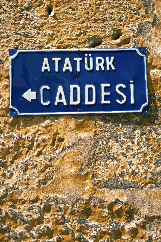 Ataturk Caddesi, street sign in Kars, north east Anatolia, Turkey, Asia Minor, Eurasia : Stock Photo
