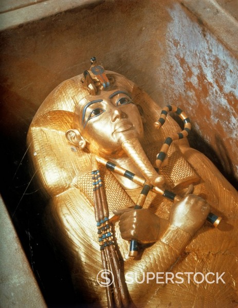 Stock Photo: 1890-50760 Detail of the second mummiform coffin made from gold_plated wood inlaid with glass_paste, from the tomb of the pharaoh Tutankhamun, discovered in the Valley of the Kings, Thebes, Egypt, North Africa, Africa