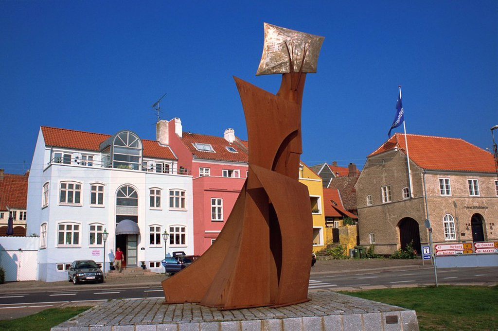 Sculpture, Faaborg, Funen, Denmark, Scandinavia, Europe : Stock Photo