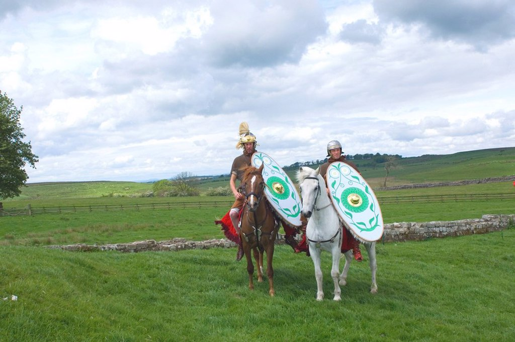 Roman Cavalry of the Ermine Street Guard, Birdoswald Roman Fort, Hadrians Wall, Northumbria, England, United Kingdom, Europe : Stock Photo