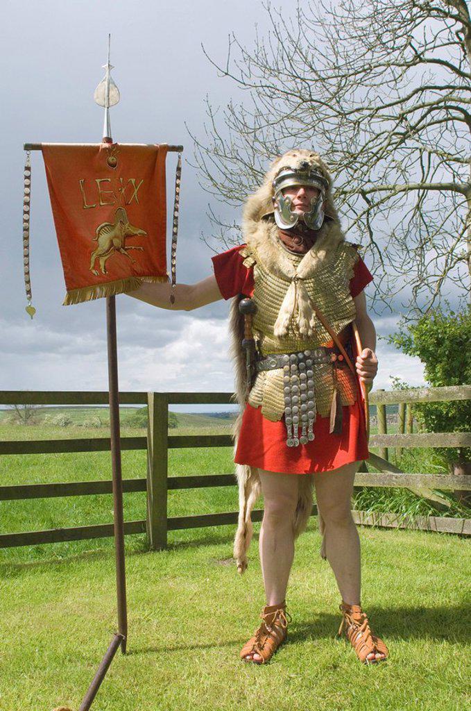 Stock Photo: 1890-51134 Roman Standard Bearer, Ermine Street Guard, Birdoswald Roman Fort, Hadrians Wall, Northumbria, England, United Kingdom, Europe