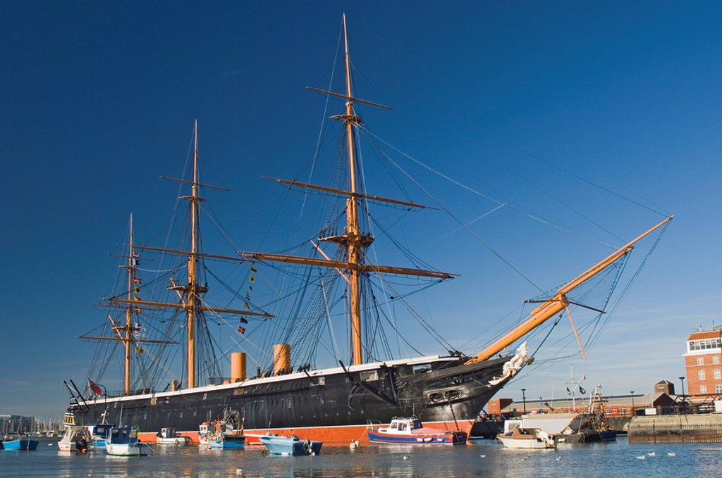 Stock Photo: 1890-51349 HMS Warrior, 1860, iron hull, built 1769_1765, sail and steam powered, Portsmouth Historical Dockyard, Portsmouth, Hampshire, England, United Kingdom, Europe