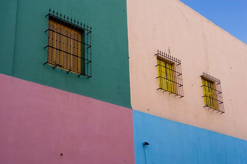 Painted walls, La Boca, harbour area, Buenos Aires, Argentina, South America : Stock Photo