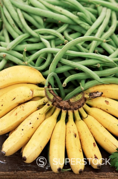 Bananas and green beans at the market, Martinique, Lesser Antilles, West Indies, Caribbean, Central America : Stock Photo