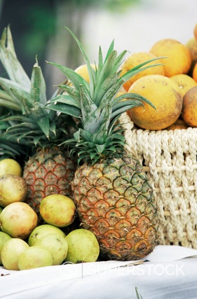 Local fruit, Martinique, Lesser Antilles, West Indies, Caribbean, Central America : Stock Photo