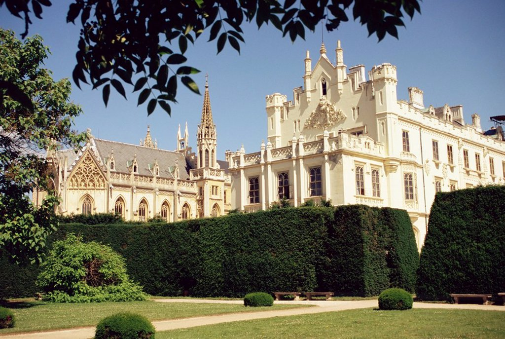 Stock Photo: 1890-5226 Neo_Gothic chateau dating from 1856, Lednice, UNESCO World Heritage Site, south Moravia, Czech Republic, Europe