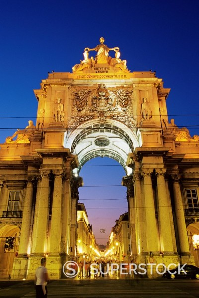 Stock Photo: 1890-52570 Rua Augusta Arch, Praca do Comercio, Lisbon, Portugal, Europe