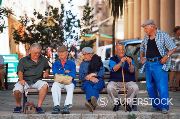 Elderly men, Ile Rousse, Corsica, France, Europe : Stock Photo