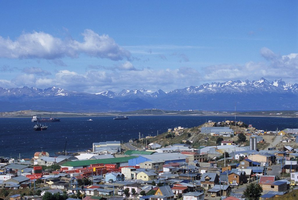 Boats float in the Beagle Channel, the capital of Tierra del Fuego province, Ushuaia, Argentina, South America : Stock Photo