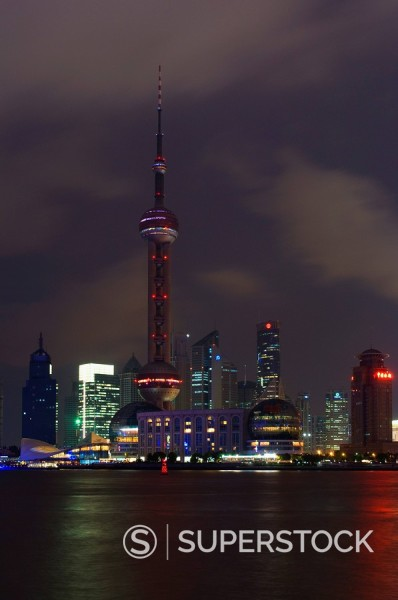 Stock Photo: 1890-53246 Lujiazui Finance and Trade zone, with Oriental Pearl Tower, and Huangpu River, Pudong New Area, Shanghai, China, Asia
