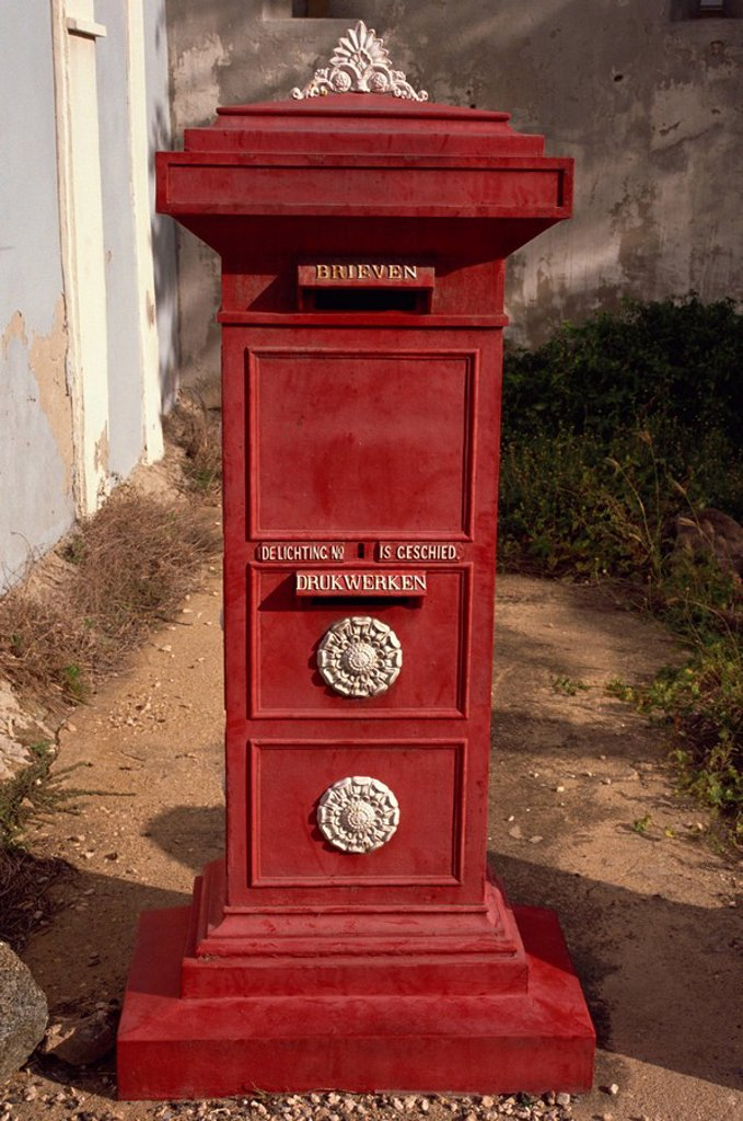 Old post box in museum, Aruba, Dutch Antilles, West Indies, Central America : Stock Photo