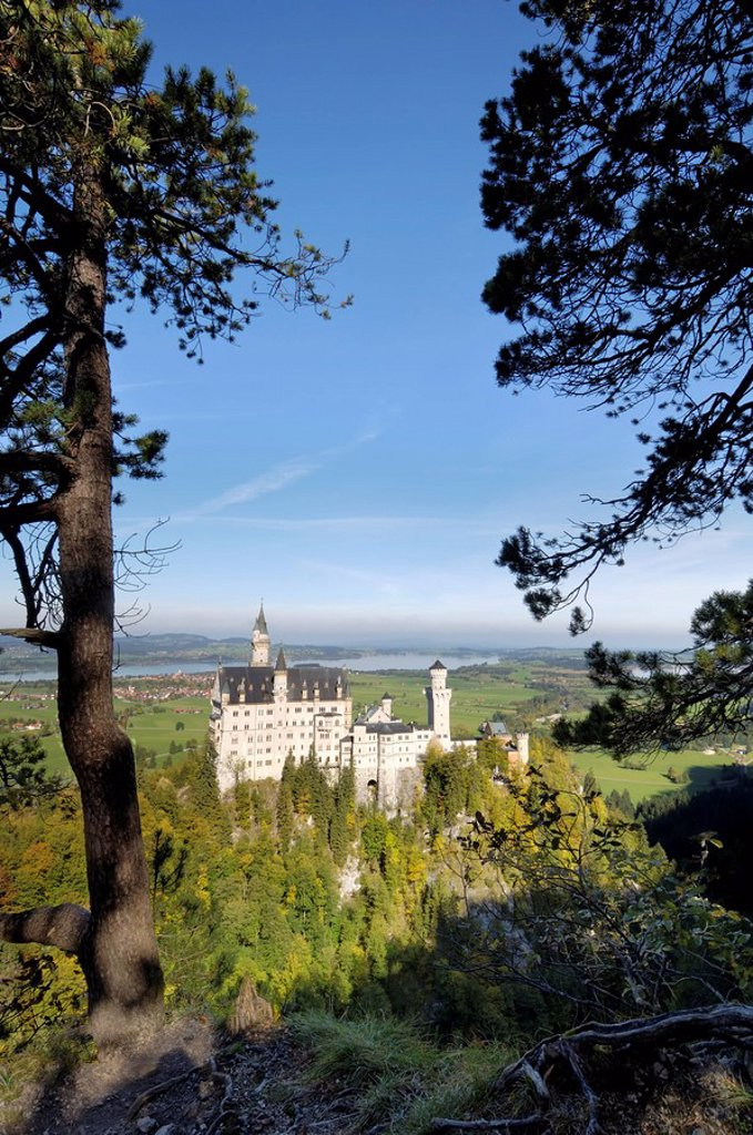 Stock Photo: 1890-54063 Schloss Neuschwanstein, fairytale castle built by King Ludwig II, near Fussen, Bavaria Bayern, Germany, Europe