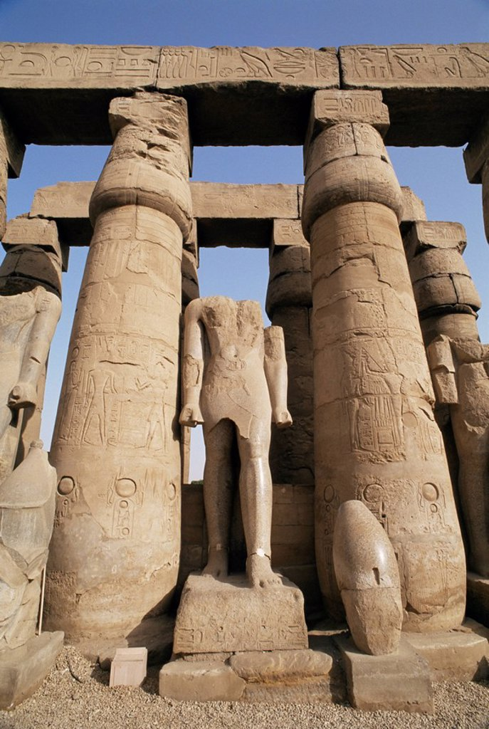 Stock Photo: 1890-54489 Osiris statues and Colonnade, Luxor Temple, Thebes, UNESCO World Heritage Site, Egypt, North Africa, Africa