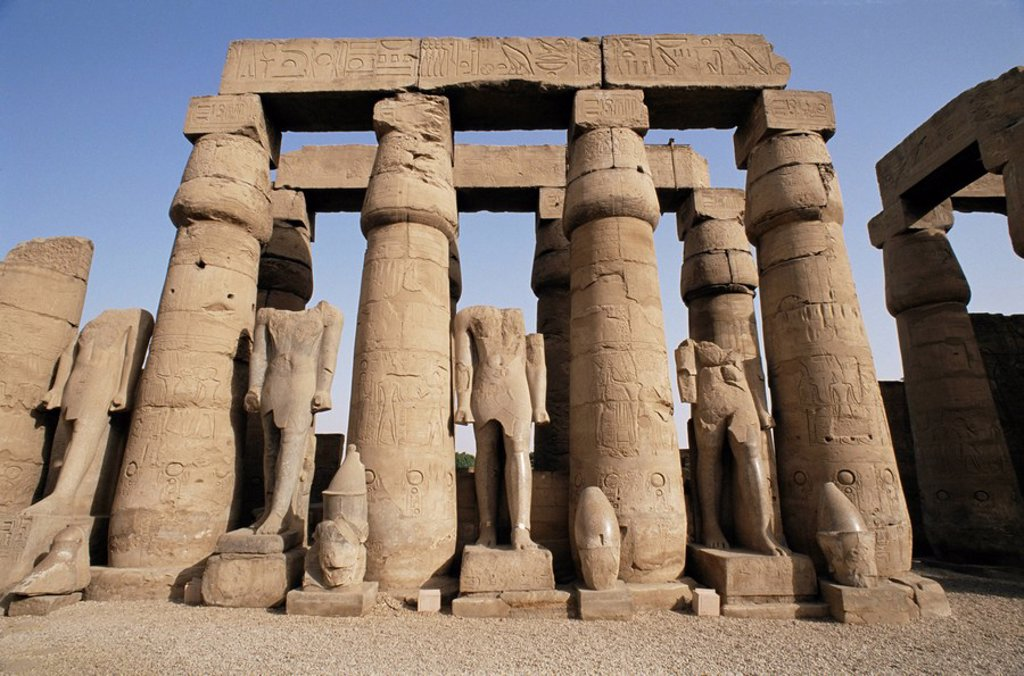 Osiris statues and Colonnade, Luxor Temple, Thebes, UNESCO World Heritage Site, Egypt, North Africa, Africa : Stock Photo