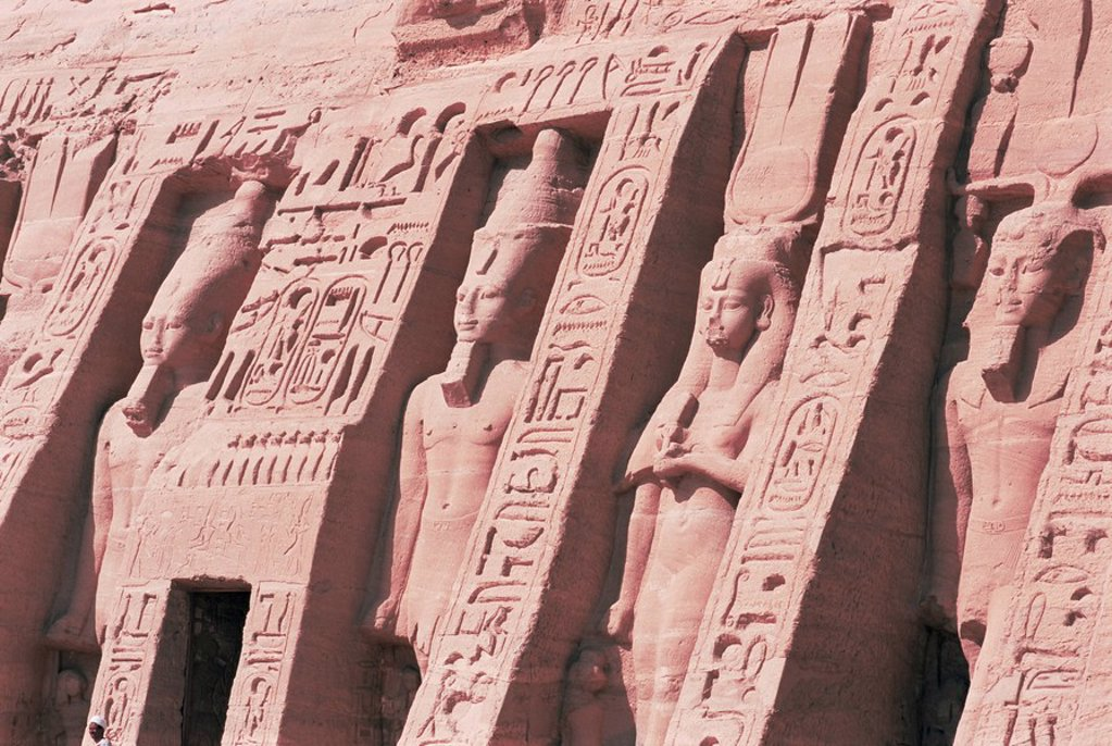 Stock Photo: 1890-54605 Queen Nefertari´s Temple, dedicated to Hathor, Abu Simbel, UNESCO World Heritage Site, Nubia, Egypt, North Africa, Africa