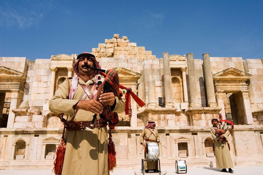 Retired military band, South Theatre, Jerash Gerasa, a Roman Decapolis city, Jordan, Middle East : Stock Photo