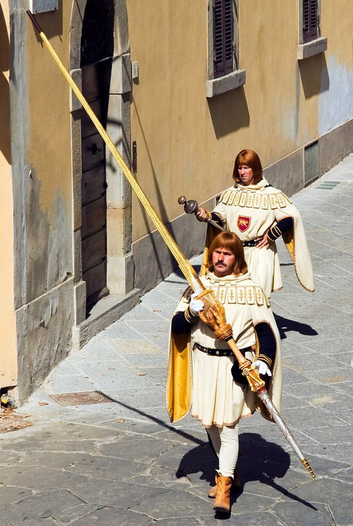 Stock Photo: 1890-54866 Medieval parade of Giostra del Saracino, Arezzo, Tuscany, Italy, Europe