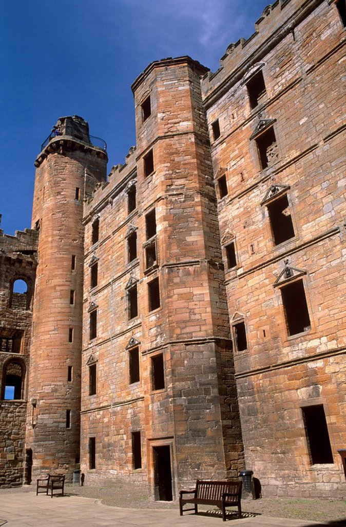 Stock Photo: 1890-55509 Interior facade, Linlithgow Palace dating from between the 15th and 16th centuries, West Lothian, Scotland, United Kingdom, Europe