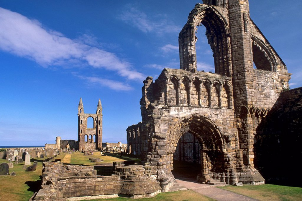 Stock Photo: 1890-55555 West gable in foreground with the great East window in background, St. Andrews cathedral dating from the 14th century, St. Andrews, Fife, Scotland, United Kingdom, Europe