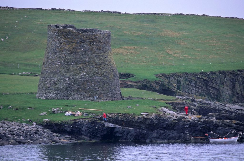 Mousa Broch, best preserved of all brochs, standing 12_13 m high, in perfect state, due to its isolation, Mousa Island, Shetland Islands, Scotland, United Kingdom, Europe : Stock Photo