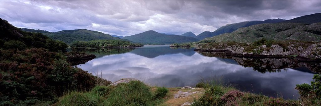 View of Upper Lake, Lakes of Killarney, Ring of Kerry, County Kerry, Munster, Republic of Ireland, Europe : Stock Photo