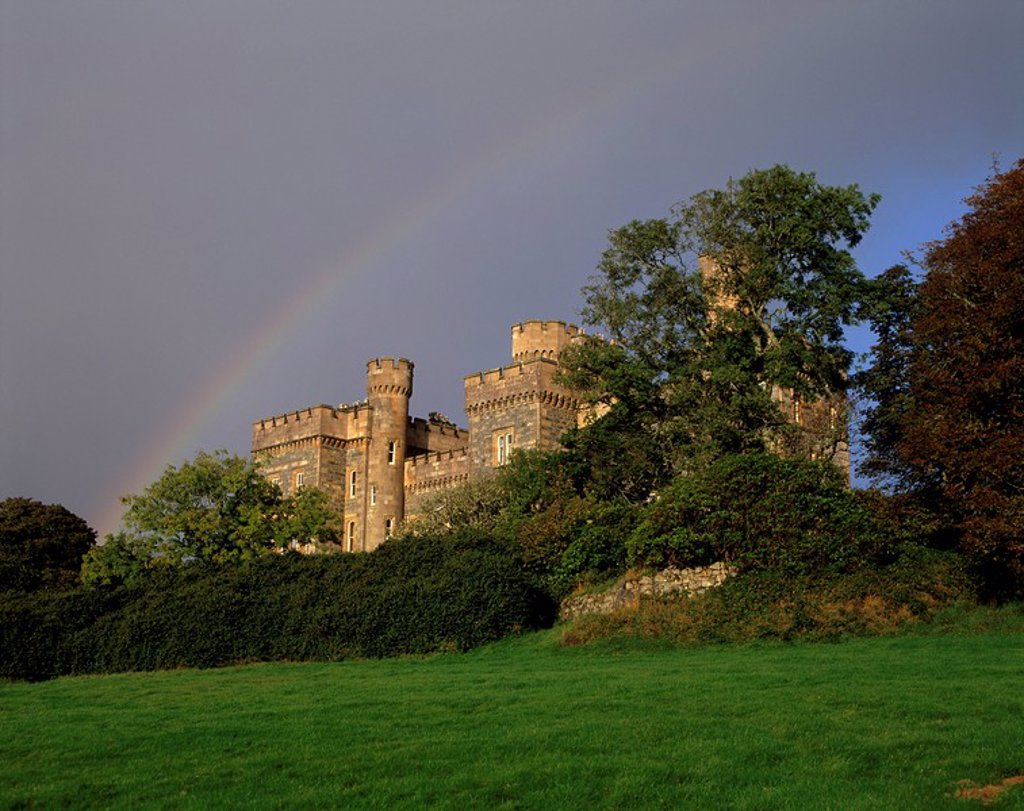 Stock Photo: 1890-56134 Lews Castle Stornoway Casle dating from the 19th century and rainbow, Stornoway, Lewis, Outer Hebrides, Scotland, United Kingdom, Europe