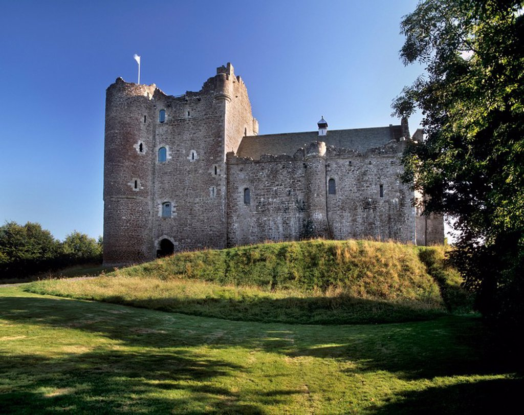 Doune Castle dating from the 14th century built for the Regent Albany, Doune, near Stirling, Scotland, United Kingdom, Europe : Stock Photo