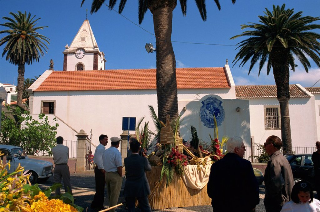 Stock Photo: 1890-5654 Easter floral display in square outside church, Porto Santo Island, off Madeira, Portugal, Atlantic, Europe