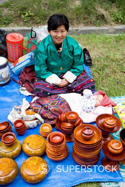Market during Buddhist festival Tsechu, Thimphu, Bhutan, Asia : Stock Photo