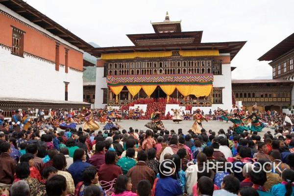 Stock Photo: 1890-56921 Buddhist festival Tsechu, Trashi Chhoe Dzong, Thimphu, Bhutan, Asia