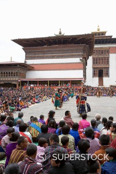 Stock Photo: 1890-56925 Buddhist festival Tsechu, Trashi Chhoe Dzong, Thimphu, Bhutan, Asia