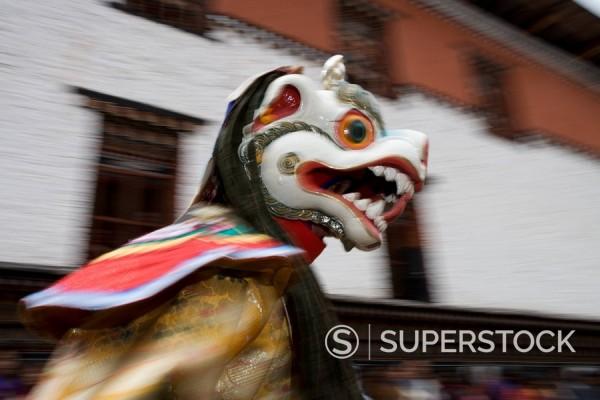 Stock Photo: 1890-56934 Buddhist festival Tsechu, Trashi Chhoe Dzong, Thimphu, Bhutan, Asia
