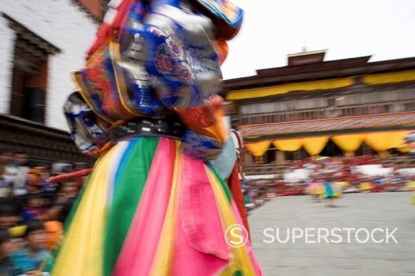 Stock Photo: 1890-56935 Buddhist festival Tsechu, Trashi Chhoe Dzong, Thimphu, Bhutan, Asia