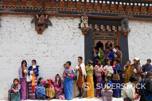 Stock Photo: 1890-56948 Buddhist festival Tsechu, Trashi Chhoe Dzong, Thimphu, Bhutan, Asia