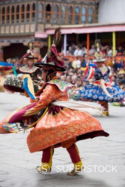 Stock Photo: 1890-57090 Buddhist festival Tsechu, Trashi Chhoe Dzong, Thimphu, Bhutan, Asia