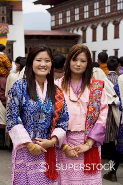 Stock Photo: 1890-57092 Bhutanese women, Trashi Chhoe Dzong, Thimphu, Bhutan, Asia