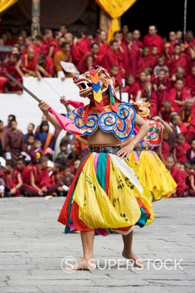 Stock Photo: 1890-57097 Buddhist festival Tsechu, Trashi Chhoe Dzong, Thimphu, Bhutan, Asia