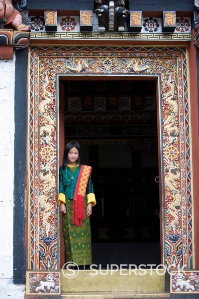 Stock Photo: 1890-57106 Bhutanese girl, Trashi Chhoe Dzong, Thimphu, Bhutan, Asia