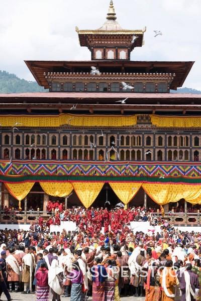 Stock Photo: 1890-57115 Buddhist festival Tsechu, Trashi Chhoe Dzong, Thimphu, Bhutan, Asia