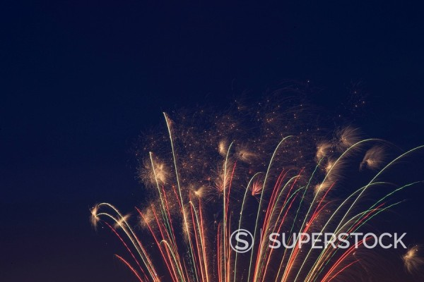 Fireworks celebrating the 4th of July, Miami, Florida, United States of America, North America : Stock Photo