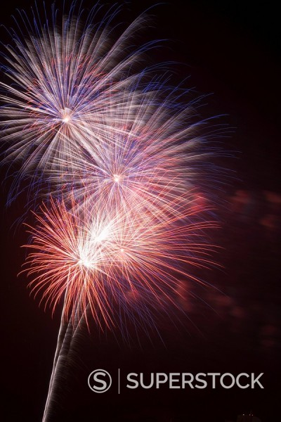 Stock Photo: 1890-57599 Fireworks celebrating the 4th of July, Miami, Florida, United States of America, North America