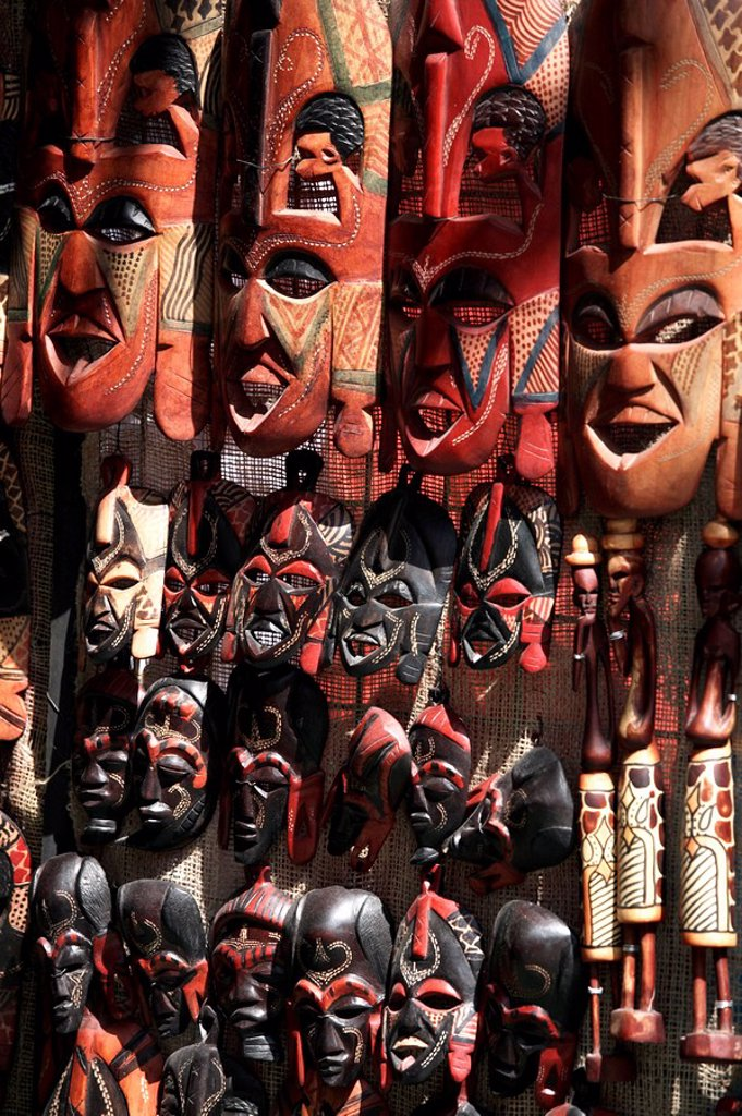 Various African masks on sale at Aswan Souq, Aswan, Egypt, North Africa, Africa : Stock Photo