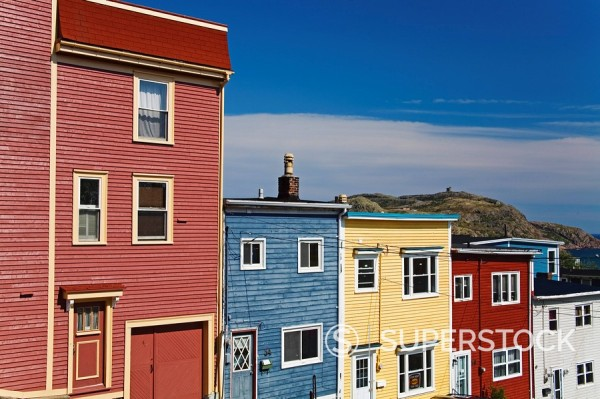 Colourful houses in St. John´s City, Newfoundland, Canada, North America : Stock Photo