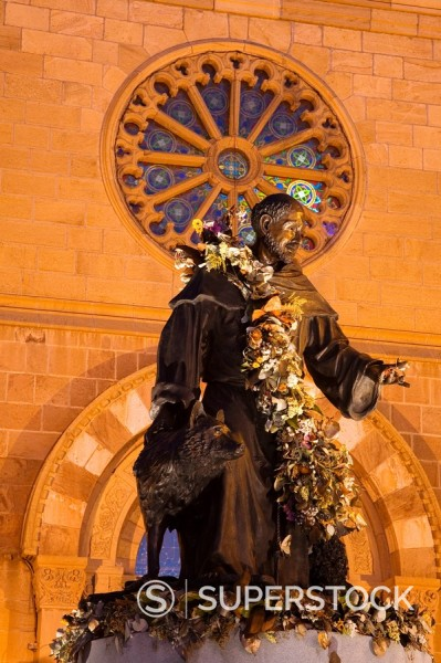 Stock Photo: 1890-58267 Statue of St. Francis of Assisi by Betty Sabo, St. Francis Cathedral, City of Santa Fe, New Mexico, United States of America, North America