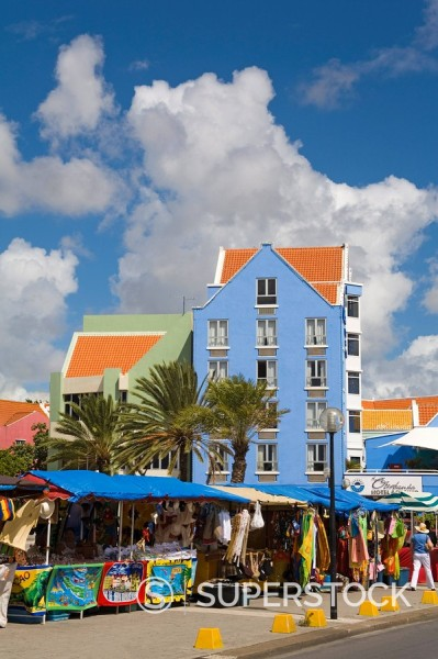 Market in Otrobanda District, Willemstad, Curacao, Netherlands Antilles, West Indies, Caribbean, Central America : Stock Photo