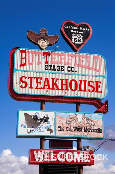 Butterfield Steakhouse sign, Holbrook City, Route 66, Arizona, United States of America, North America : Stock Photo