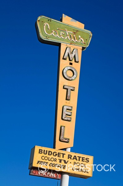 Stock Photo: 1890-58561 Cactus Motel, Route 66, Barstow, California, United States of America, North America