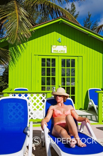 Stock Photo: 1890-58697 Beach cabana and woman, Princess Cays, Eleuthera Island, Bahamas, West Indies, Central America
